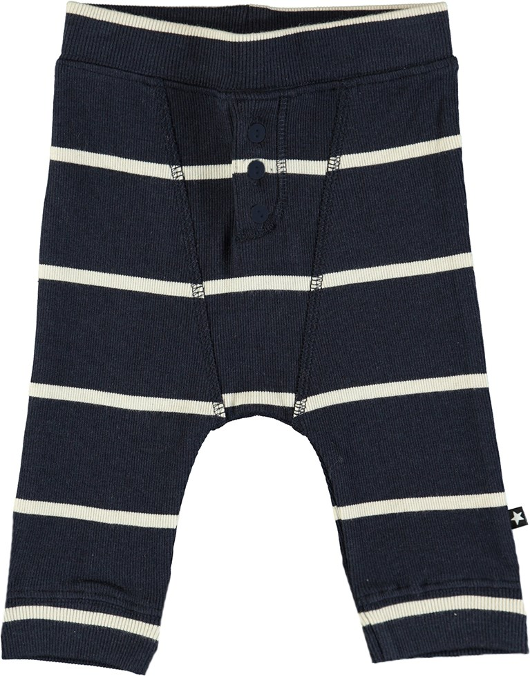 Simpson - Dirty White Stripe - Striped, dark blue baby trousers in rib