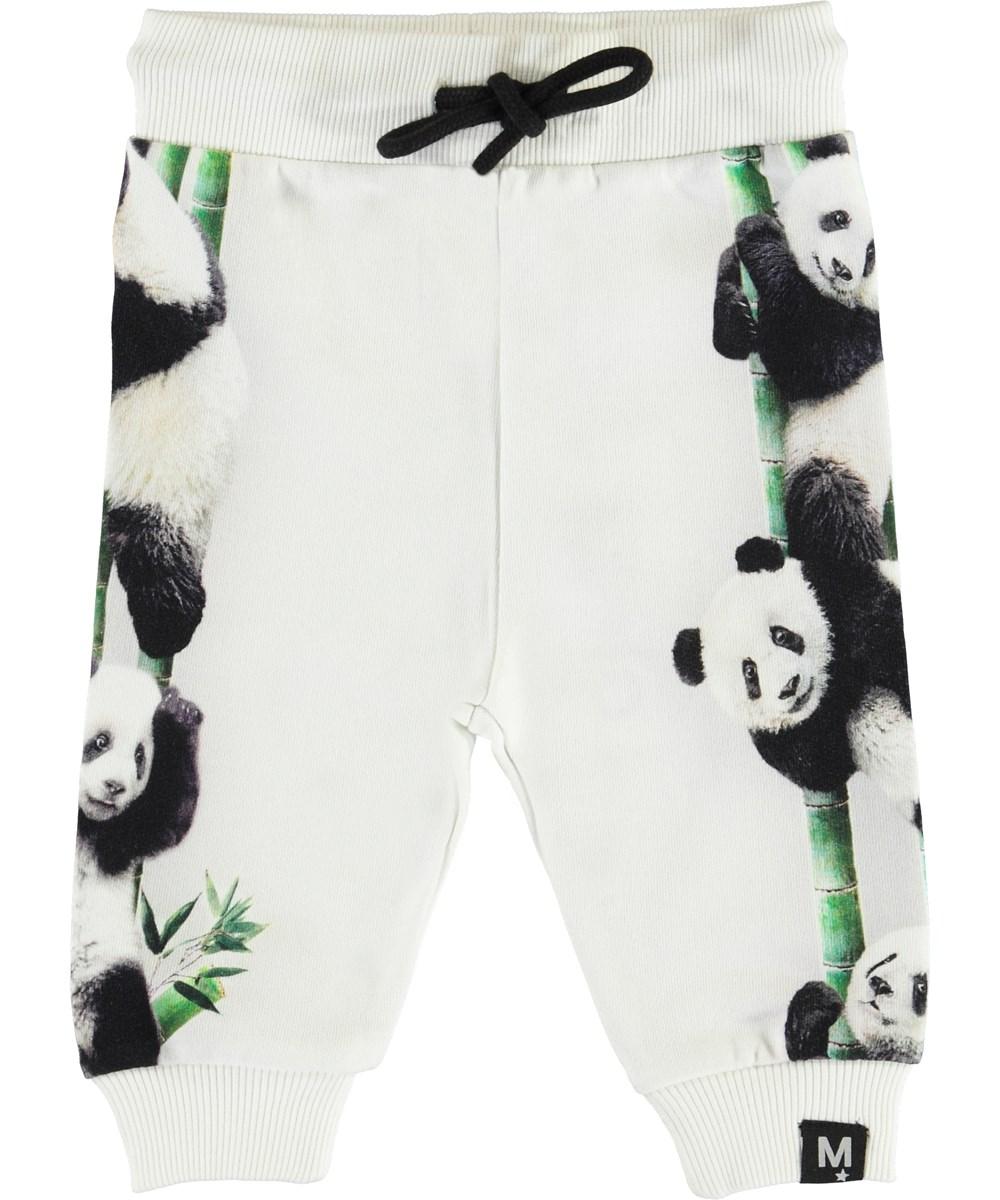 Sol - Climbing Panda - White baby trousers with pandas