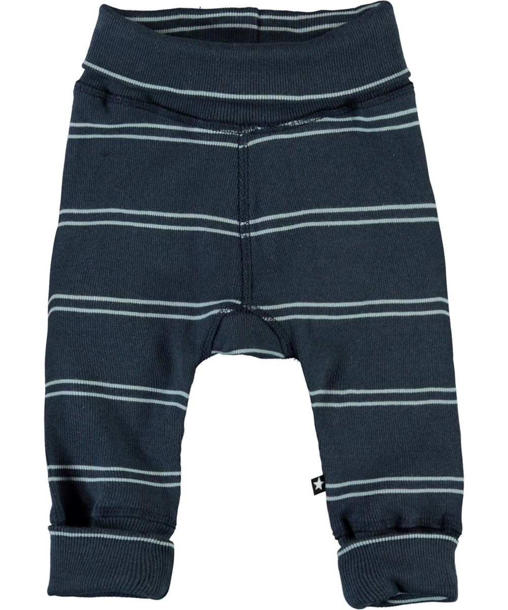 Son - Blue Stripes - Blue organic baby trousers