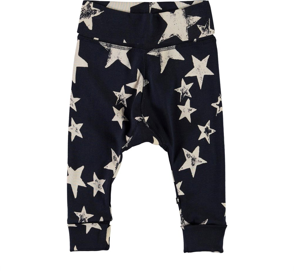 Son - White Navy Star - Blue baby trousers with stars