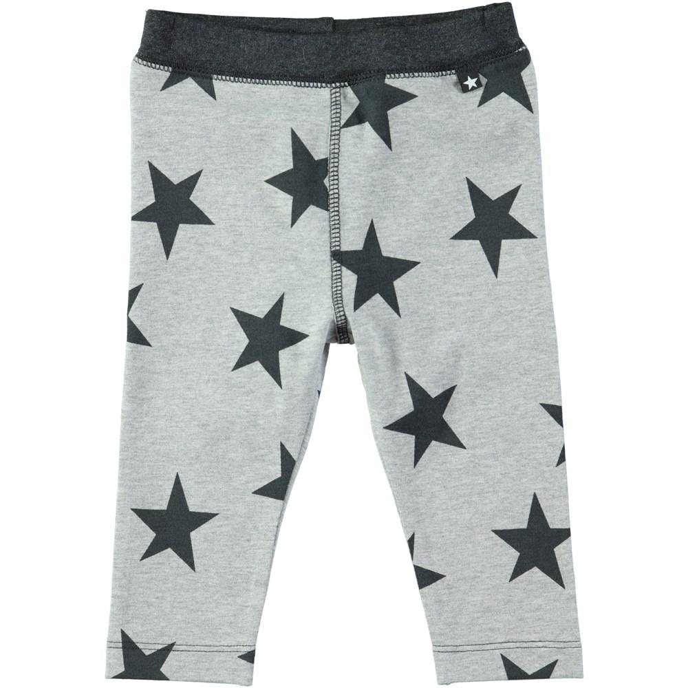 Soul - Dark Grey Star Print - Grey baby leggings with stars