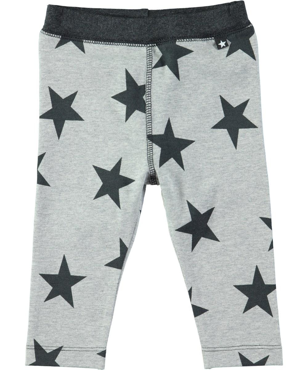 cd2e8e29dae37 Soul - Dark Grey Star Print - Grey baby leggings with stars - Molo