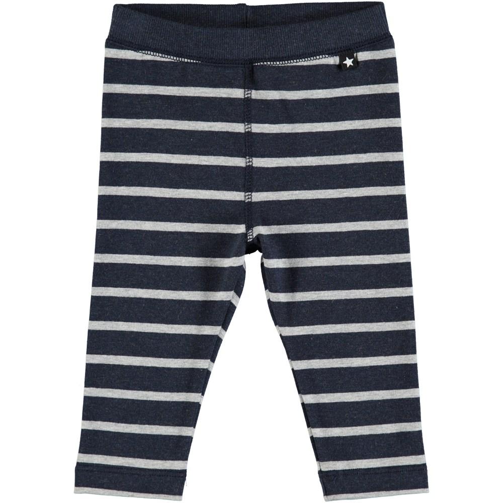 Soul - Melange Stripe - Mørkeblå baby leggings med striber