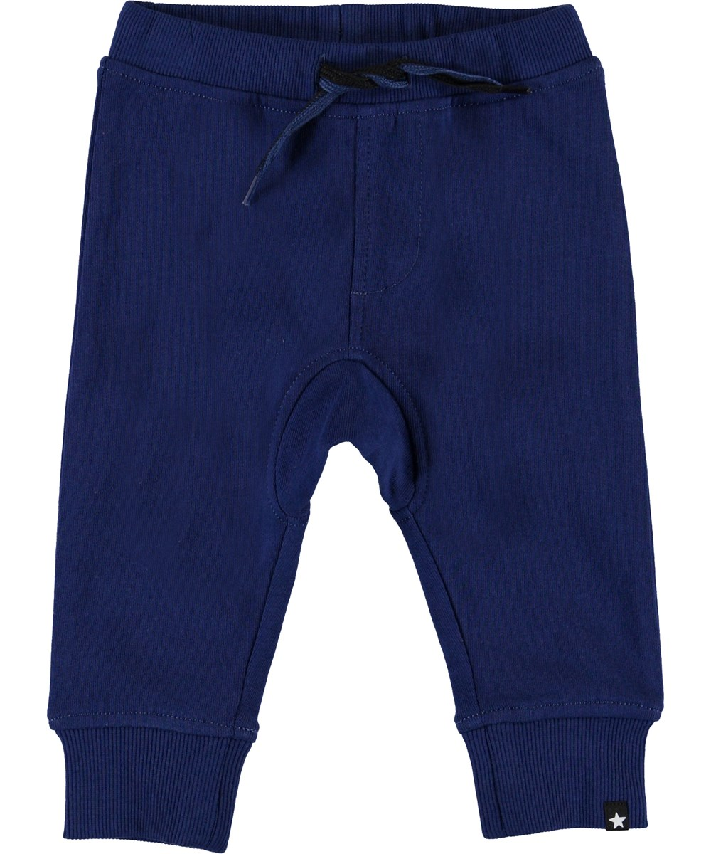 Stan - Ink Blue - Blue organic baby sweatpants