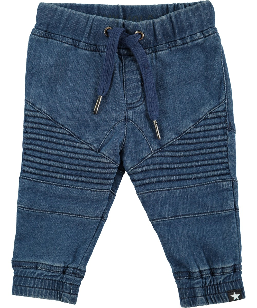 Stanley - Blue Denim - Jeans with rib details