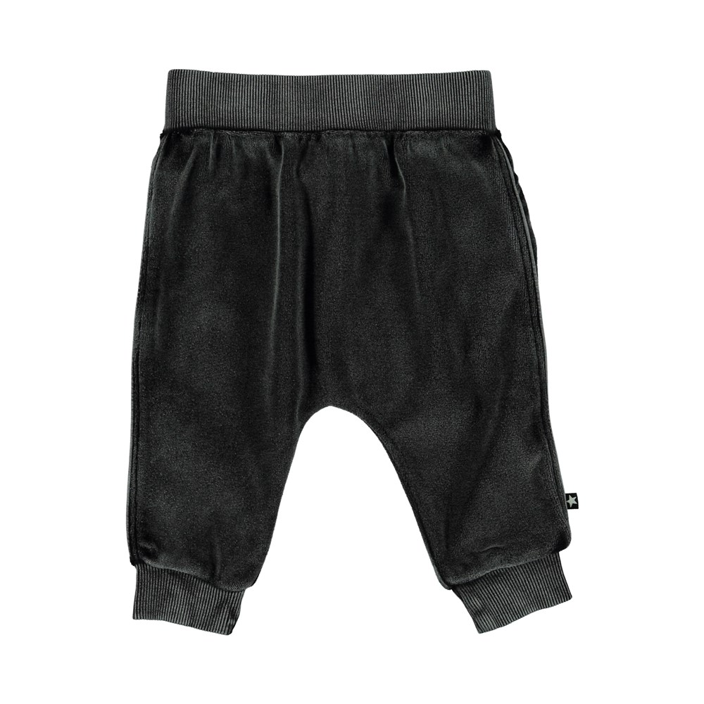 Stein - Pirate Black - Velour baby trousers.