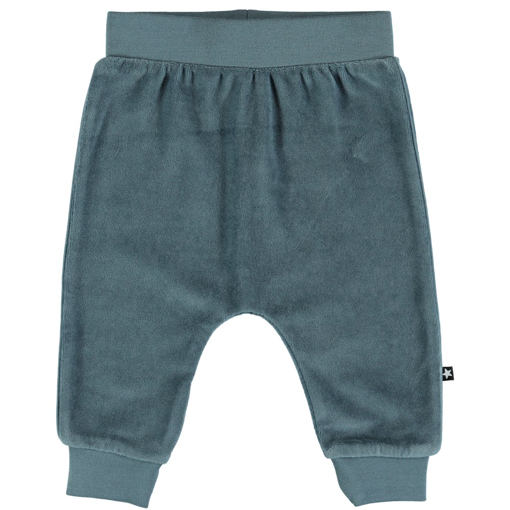 Steinbjorn - Stormy Weather - Dusty blue baby trousers in velour