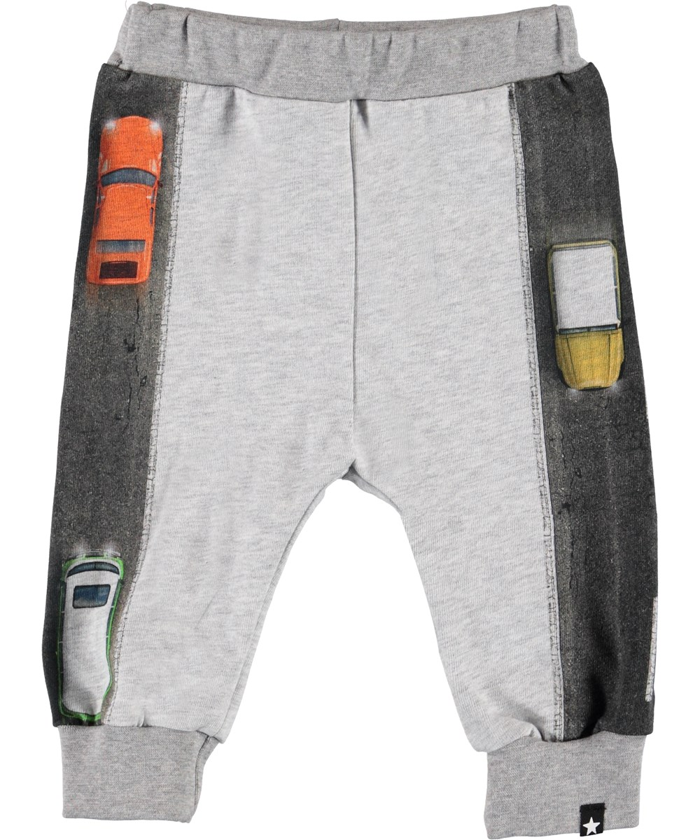 Street - Light Grey Melange - Organic grey baby trousers with cars