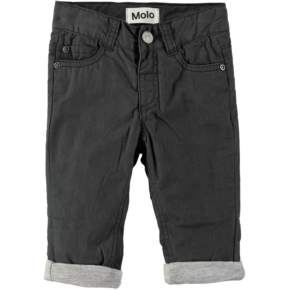 Sven - Pirate Black - Black baby trousers with roll up