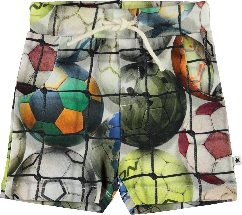 Simroy - Footballs - Organic baby shorts with footballs