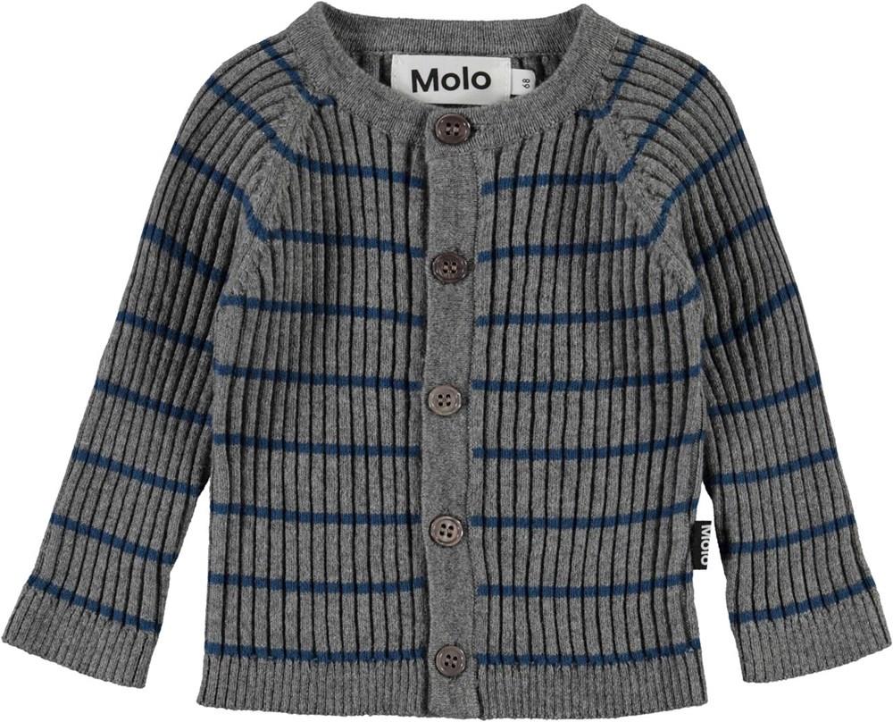 Bendix - Slim Stripe - Grey knit cardigan with blue stripes