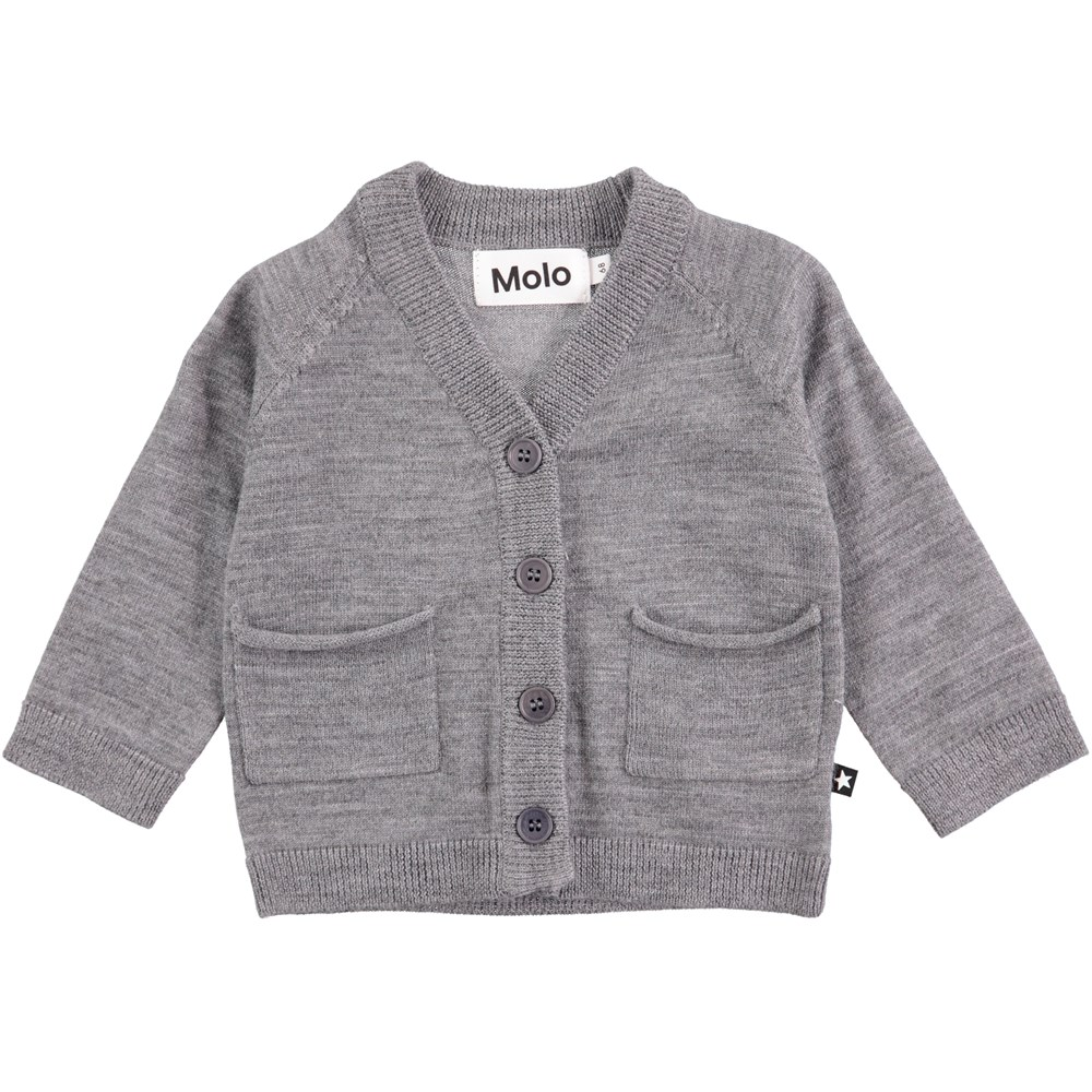 Benjamin - Grey Melange - Grey baby knit in wool with buttons and pockets