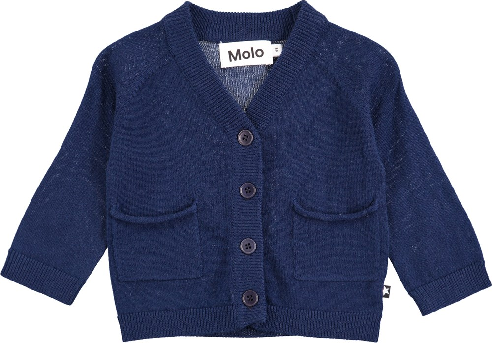 Benjamin - Infinity - Dark blue baby knit in wool with buttons and pockets