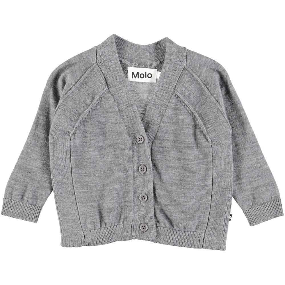 Benji - Grey Melange - Grey baby cardigan in wool