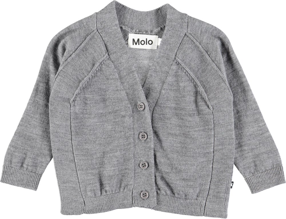 Benji - Grey Melange - Grey baby cardigan in wool