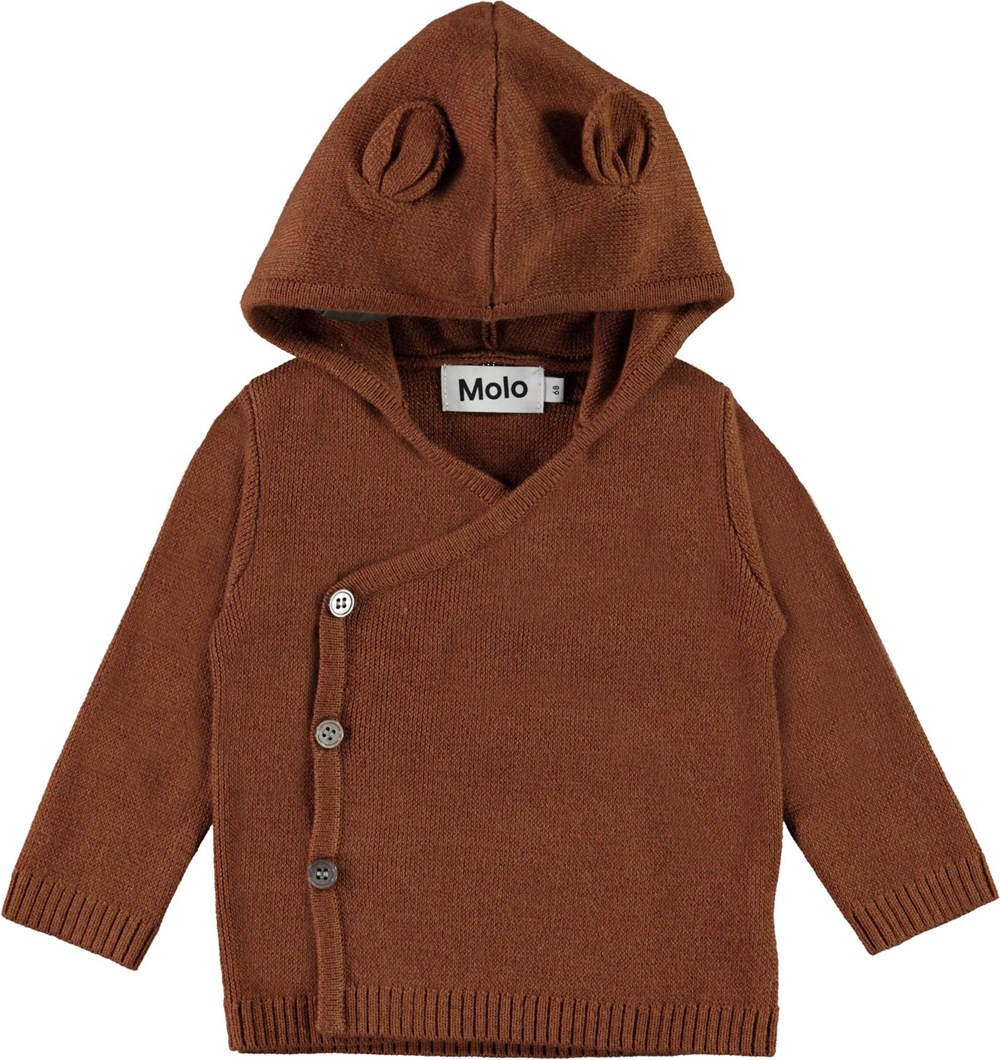 Bobby - Iron - Brown baby knit cardiagn with slanted buttons
