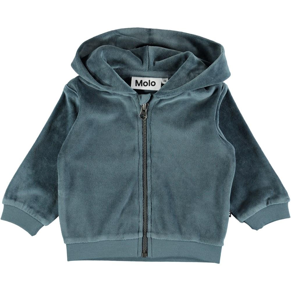 Dagfinn - Stormy Weather - Dusty blue baby hoodie in velour