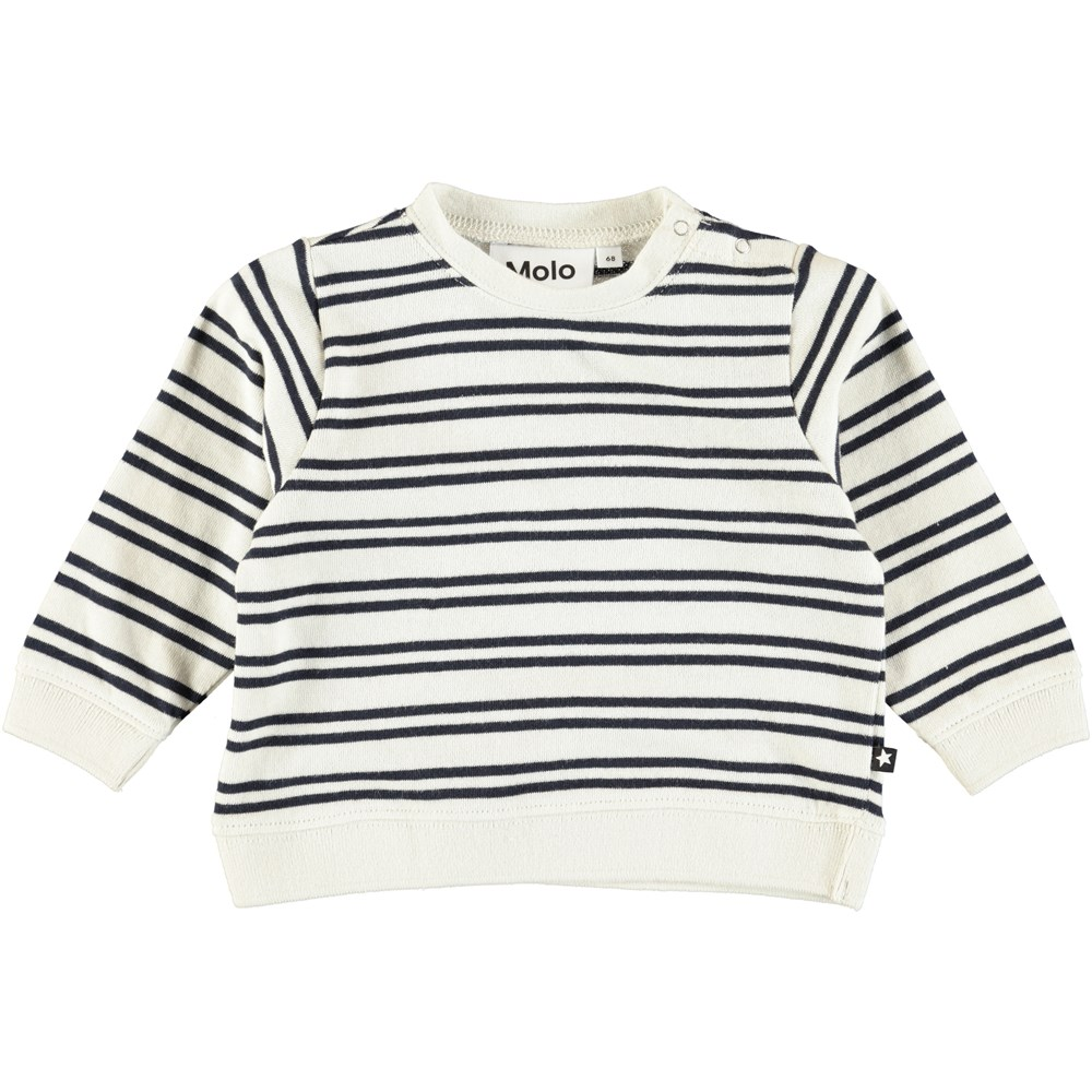 Dale - Dark Navy Stripe - Cream coloured, cotton baby top with stripes