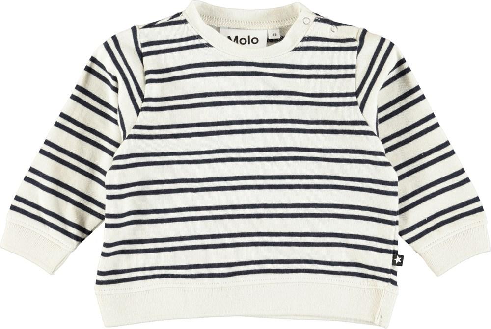 Dale - Dark Navy Stripe - Cream coloured, cotton baby top with stripes