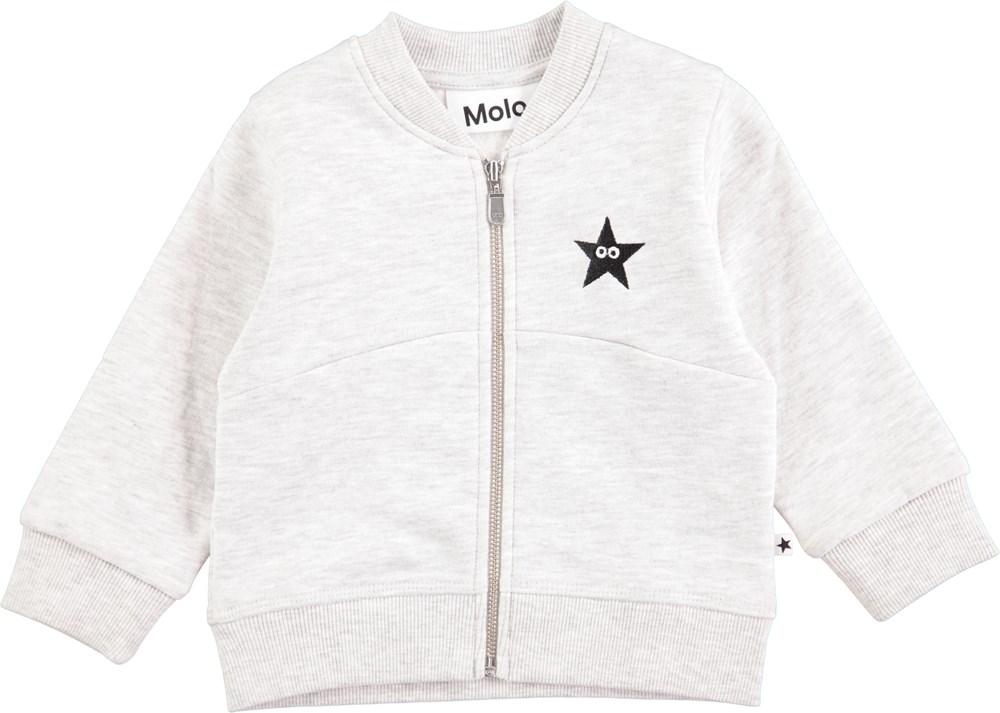 4bac5cd056dc Damon - Light Grey Melange - Light grey baby sweatshirt with zipper ...
