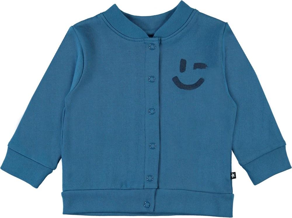 David - Aqua - Blue organic baby cardigan smiley
