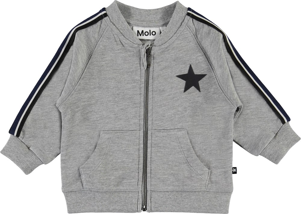 Daylo - Grey Melange - Baby sweatshirt with star