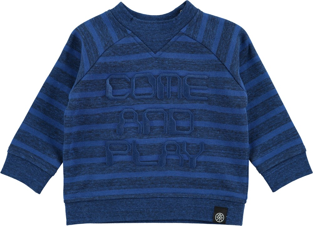 Delroy - Blue Melange Stripe - blue baby sweatshirt with stripes