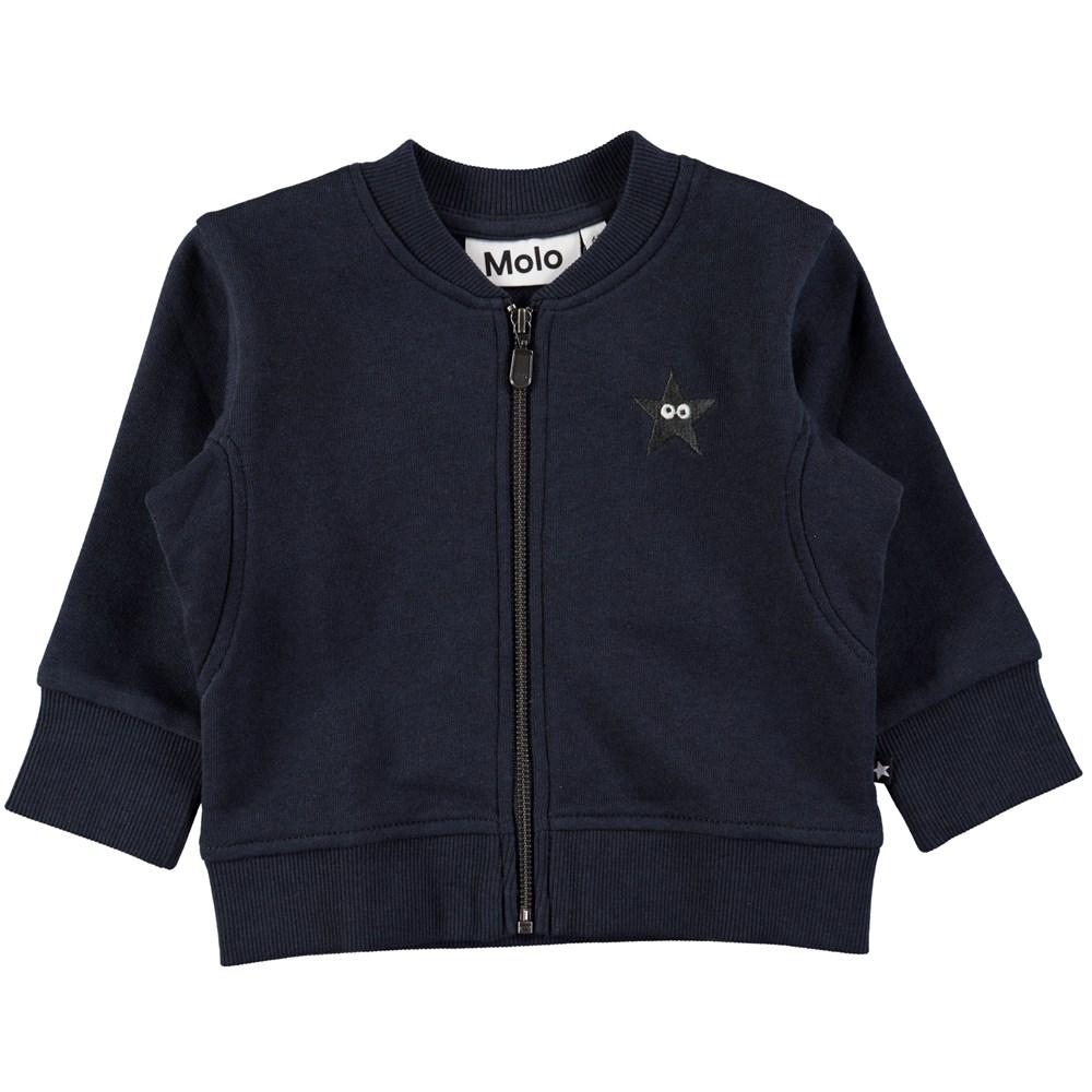 Derek - Dark Navy - Blue baby sweatshirt with zipper