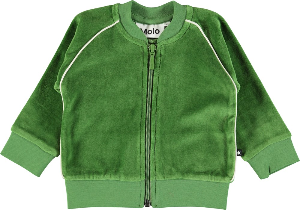 Dima - Field Green - Baby sweatshirt in green velour with zipper