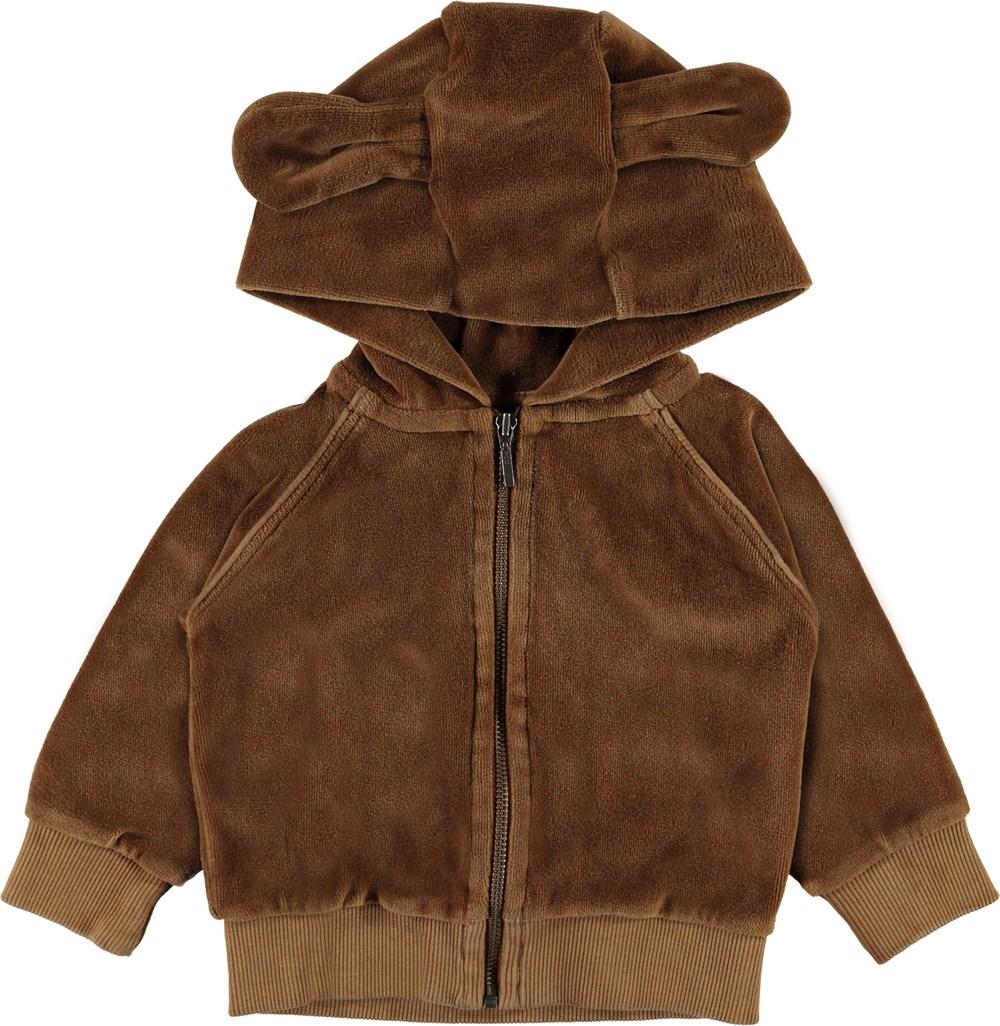 Dirk - Emperador - Baby velour sweatshirt with ears