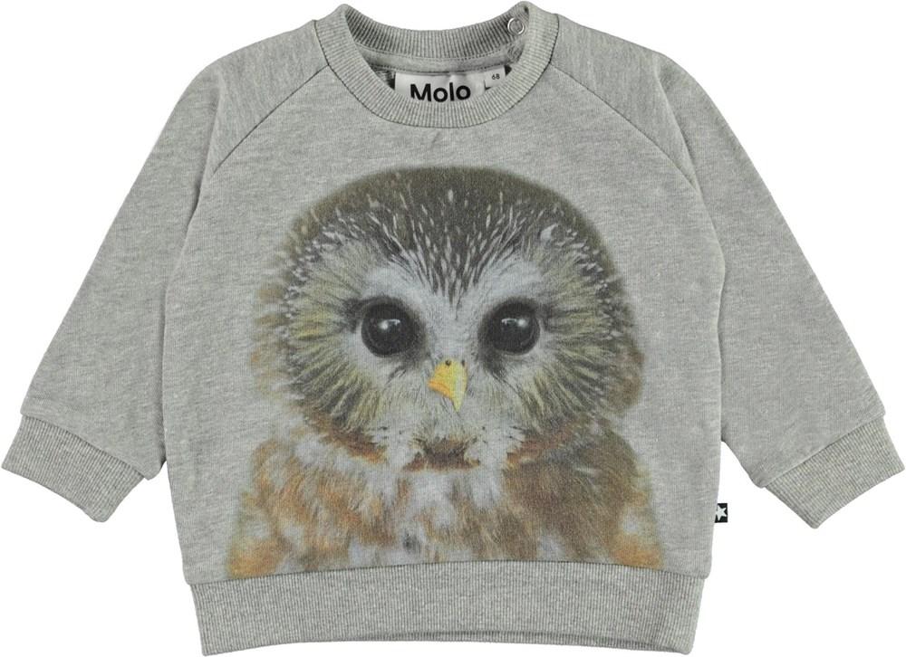 Disco - Baby Owl - Grey organic baby sweatshirt with owl print