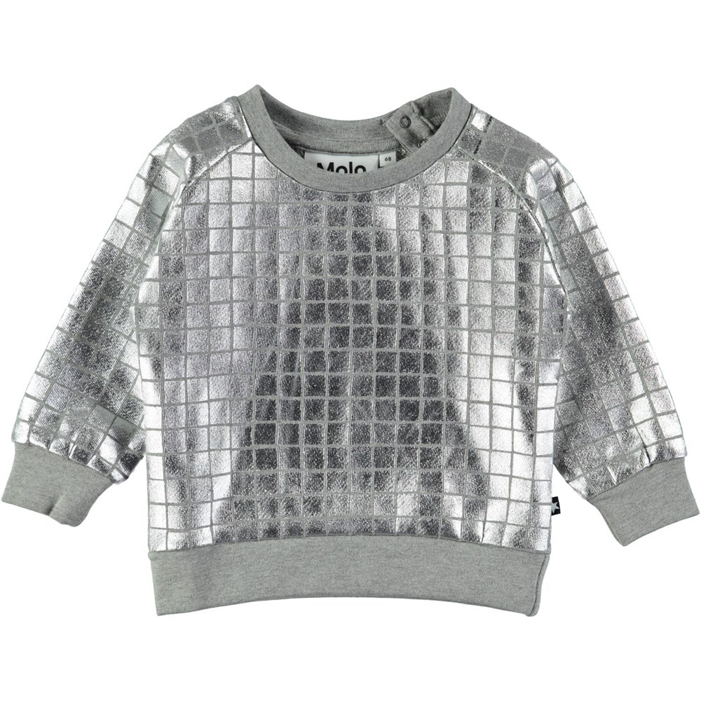 Disco - Grey Melange - Silver coloured baby top