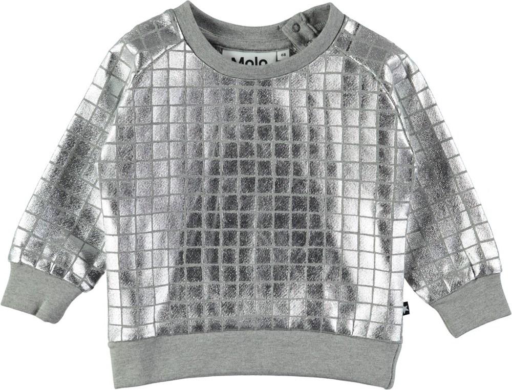 Disco - Grey Melange - Silver coloured baby top