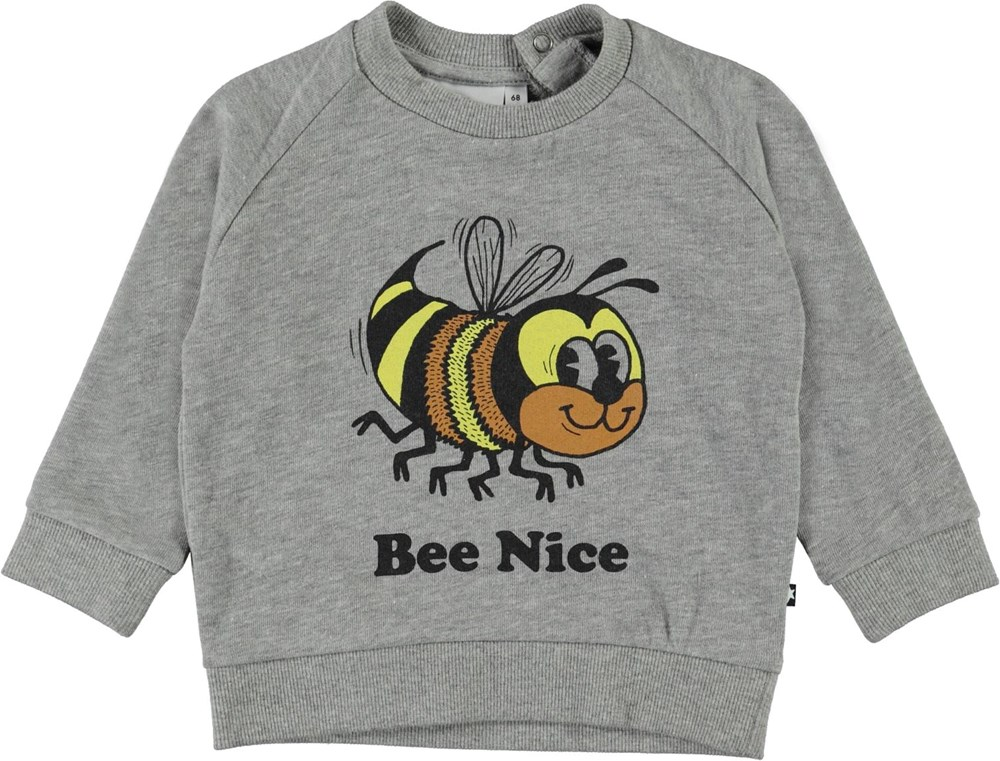 Disco - Grey Melange - Grey organic baby sweatshirt with bee print