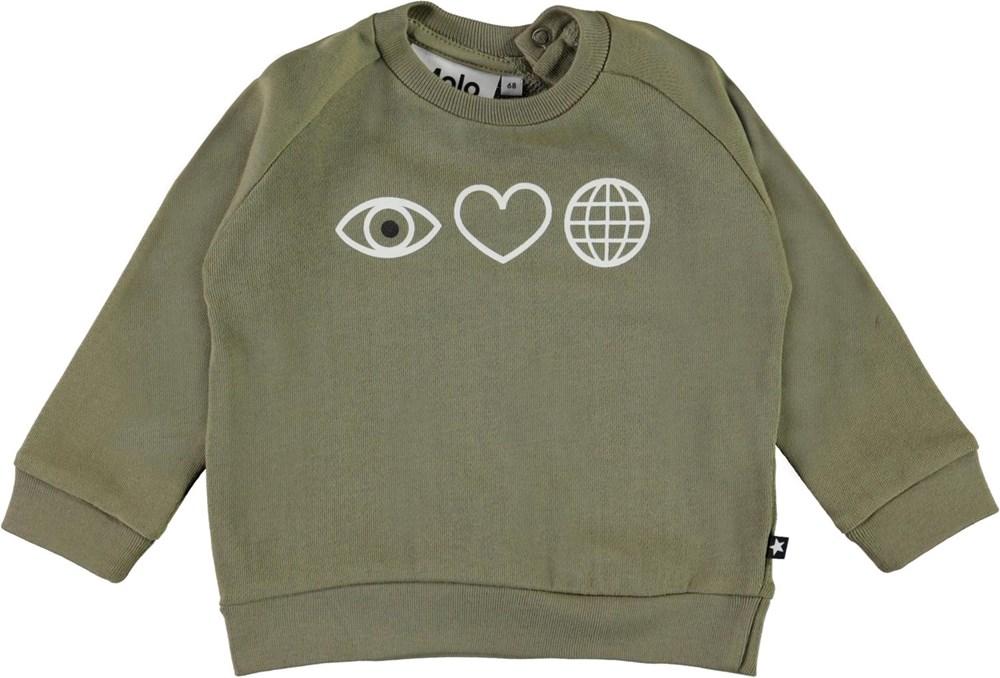 disco - Khaki Green - Green organic baby top with heart and eye
