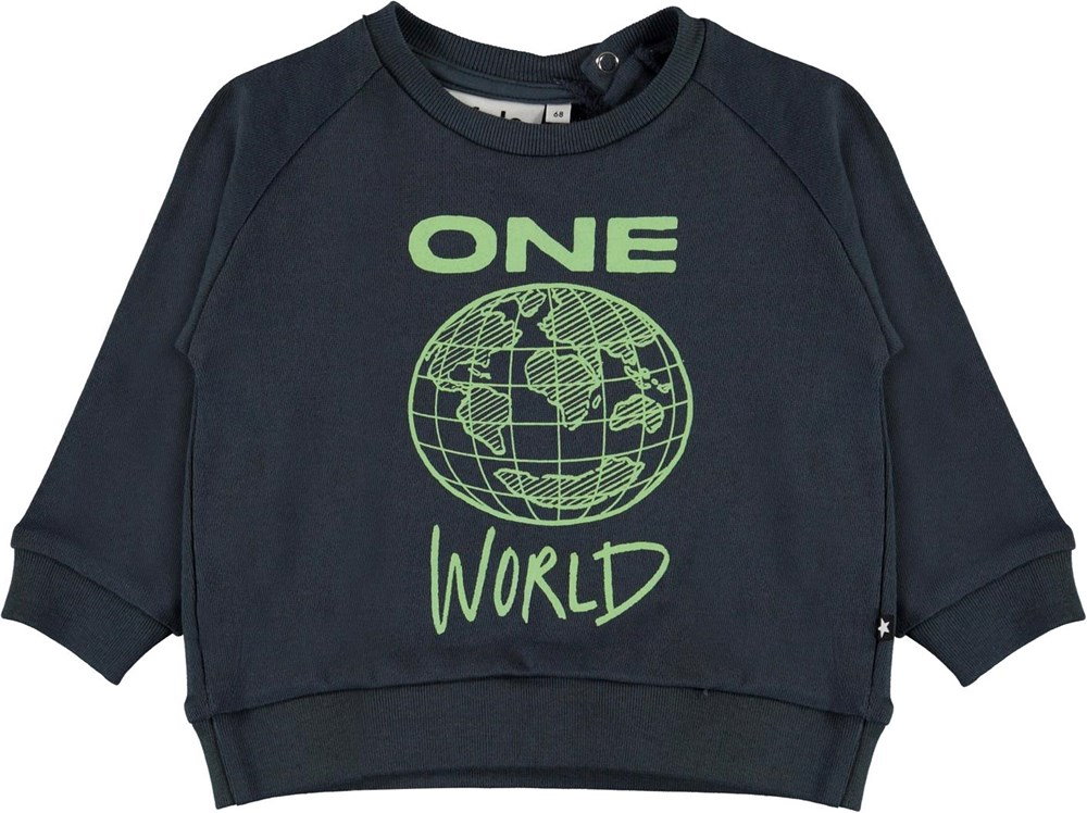 disco - Summer Night - Blue organic baby top with planet Earth