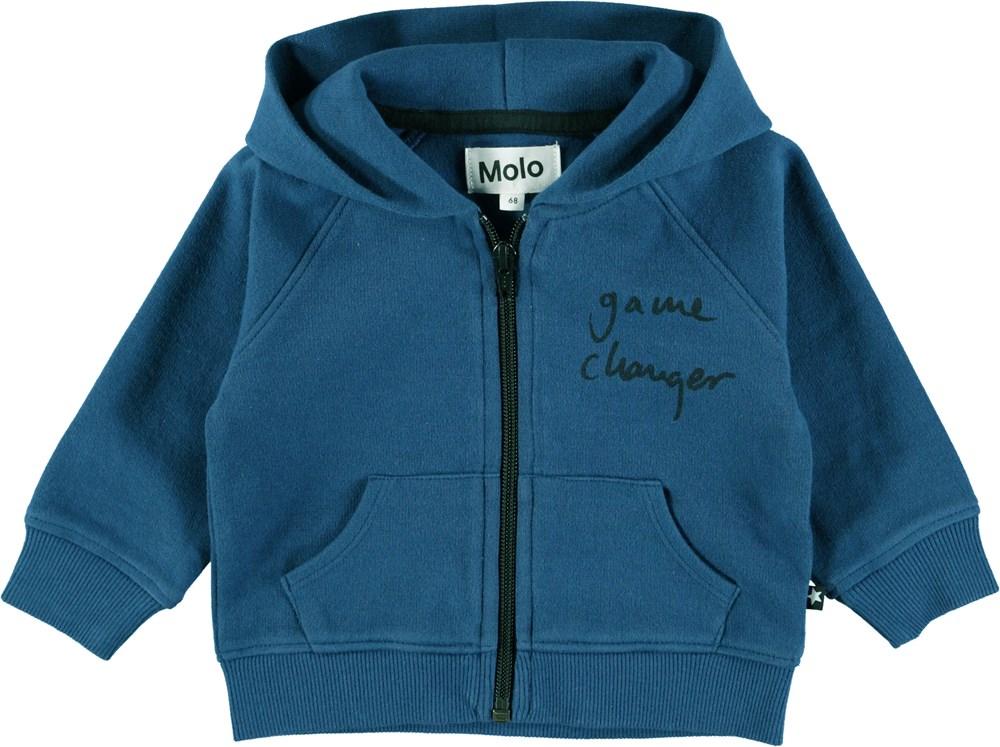 Dole - Indigo - Blue baby hoodie with zipper
