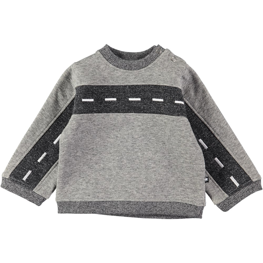 Drove - Grey Melange - Grey baby sweatshirt with road pattern