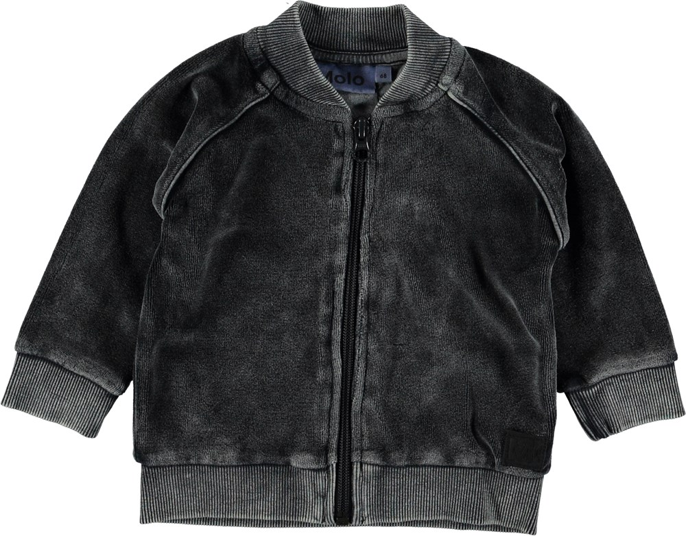 Dylan - Carbon - Grey velour baby sweatshirt.
