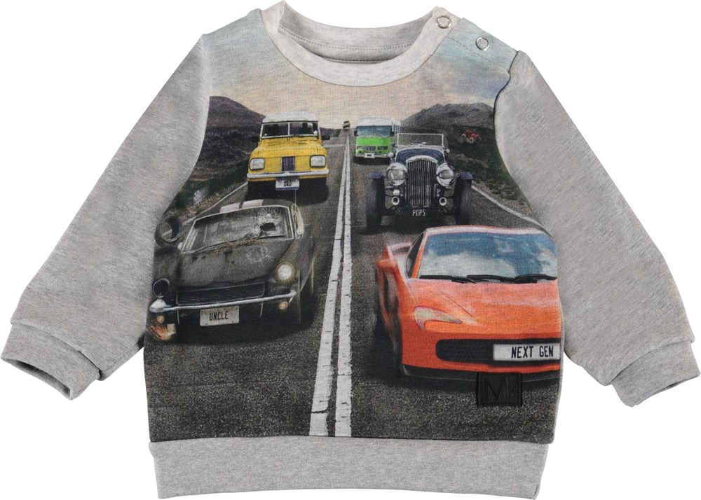Drive - Grey Melange - Organic baby sweatshirt with cars