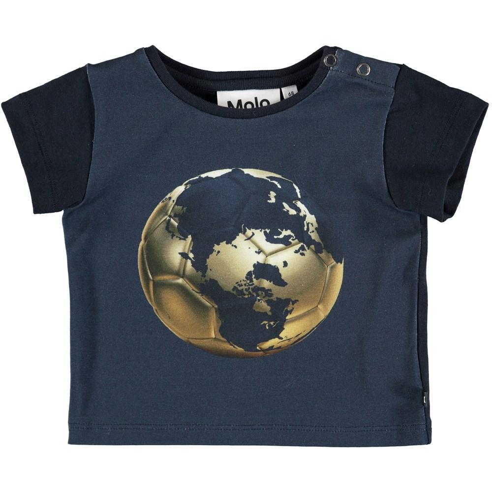Eddie - Football Globe - Dark bllue baby t-shirt with football print