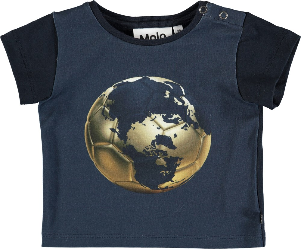 Eddie - Football Globe - Dark bllue baby t-shirt with football print