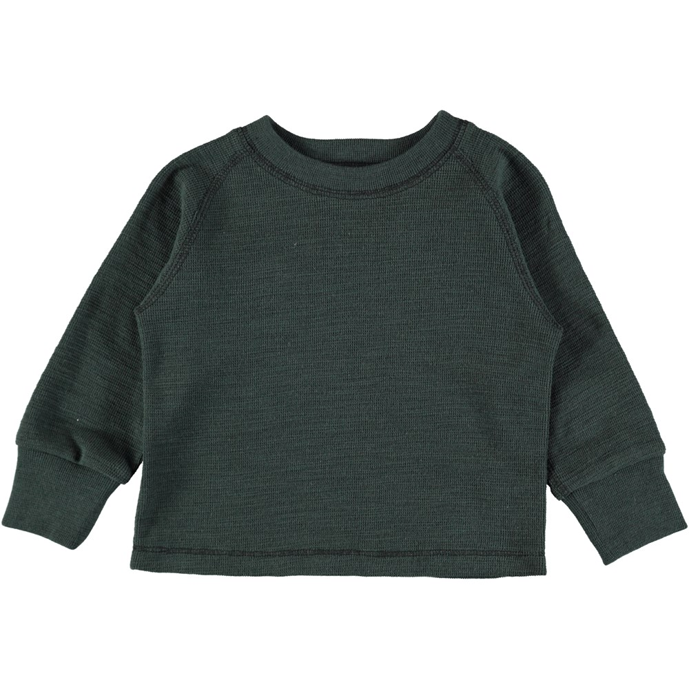 Egan - Deep Forest - Green baby top in soft cotton