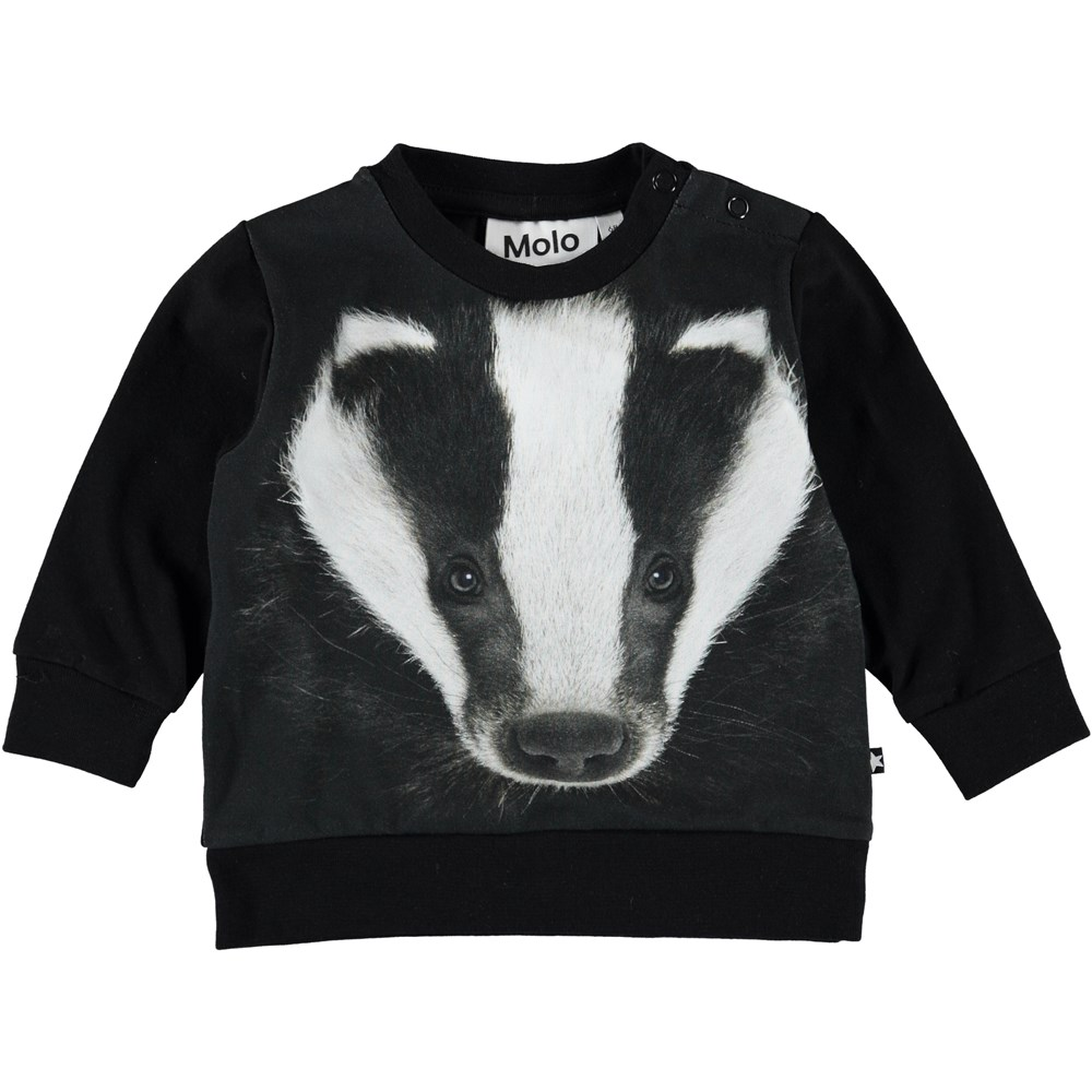 Eiler - Badger Face - Black baby top with digital badger print