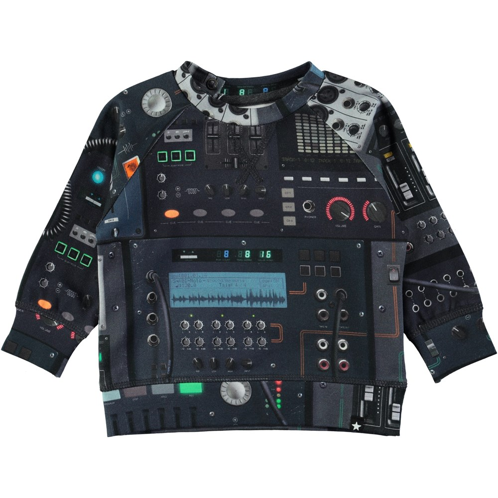 Elmo - Mixer - Long sleeve baby top in a sweatshirt look with digital mixer print