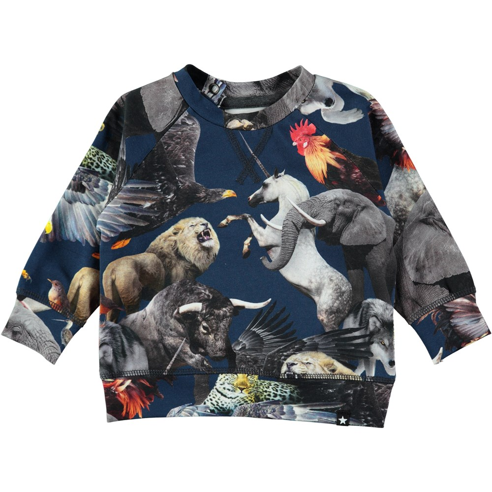 Elmo - National Animals - Long sleeve baby top in a sweatshirt look with digital print of the world's national animals