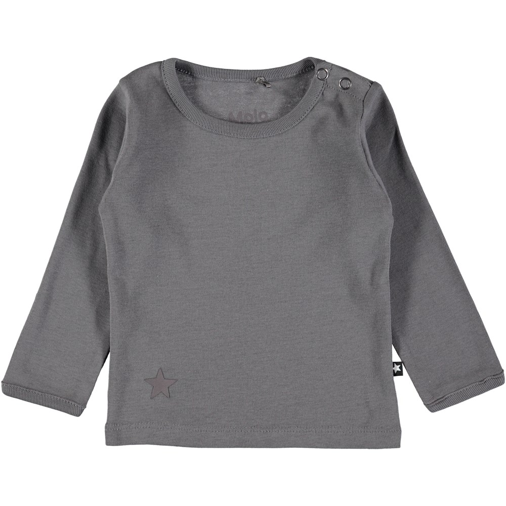 Elo - Dark Grey - Dark grey, basic baby top