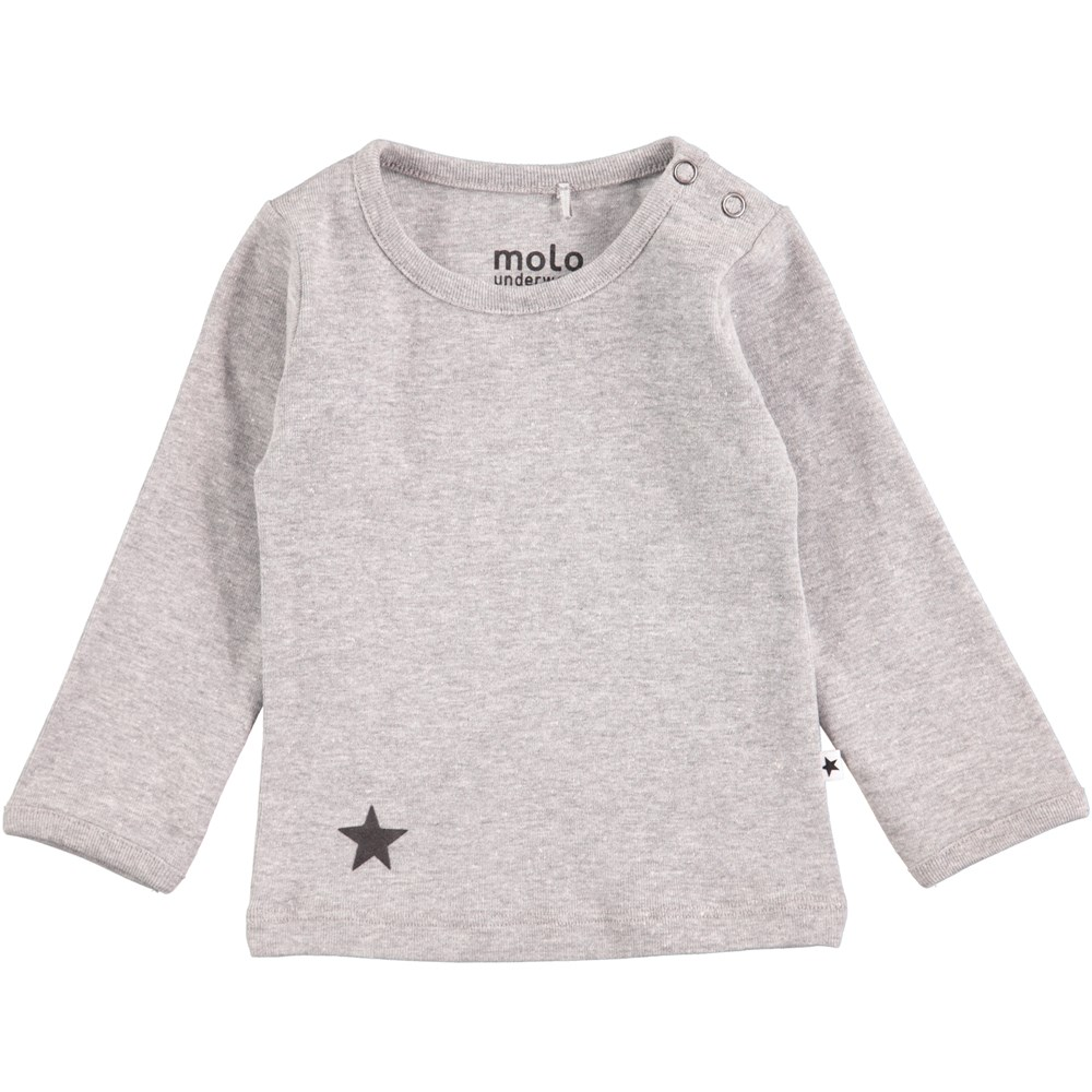 Elo - Grey Melange - Long sleeve grey basic t-shirt with printed star