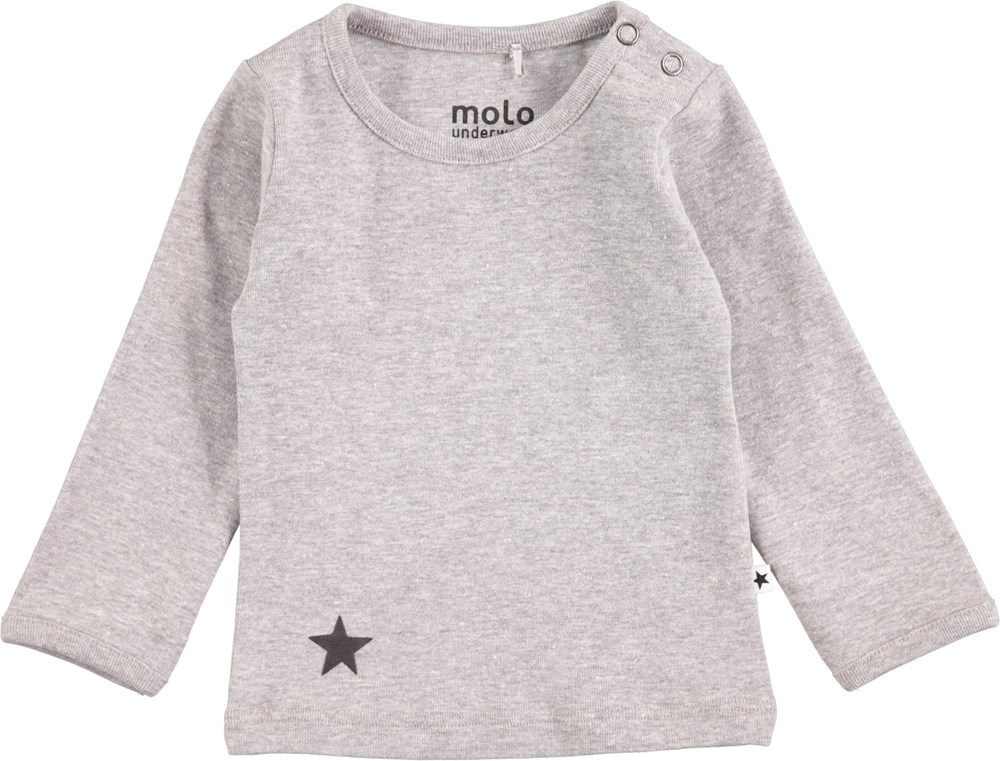 Elo - Grey Melange - Long sleeve grey basic t-shirt with printed star