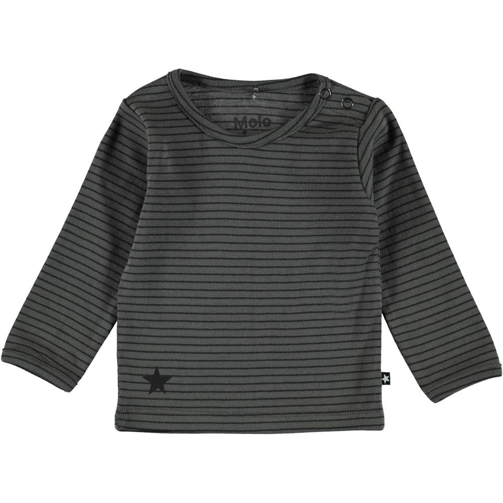 Elo - Pewter Stripe - Dark grey striped t-shirt.